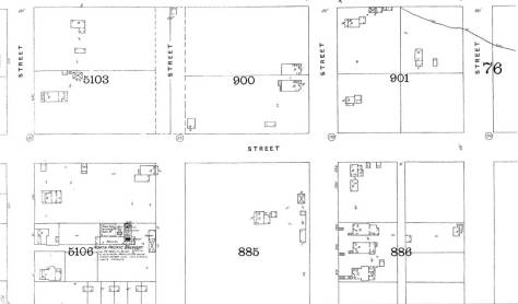 This detail from the 1893 Sanborn map includes thee footprints of our feature side-by-side with its twin upper-center