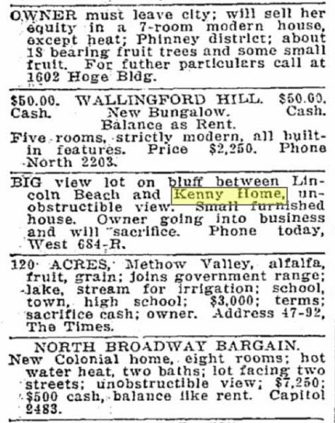 """This classified for a """"big view lot on bluff between Lincoln Beach and Kenny home"""" appeared in the Times for December 19, 1915."""