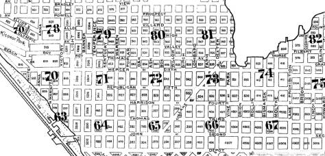 A detail of the South Queen Anne neighborhood from the 1893 Sanborn Real Estate Map, before the regularizing of the street names. Notice there are two Thomas Streets showing here.