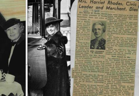 Here, we believe, are three of Harriet Rhodes. You can agree or not or remain puzzled by comparing the detail from the featured photo, at the center, with the identified portraits of Harriet to the left and right.