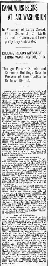 The Seattle Times next day report on the June 1, 1911 celebration at Ross/Freemont.