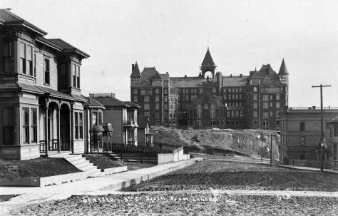 The other side. Denny Hotel looking south from the top of Denny Hill - from near Blanchard Street and over or through Virginia. Photo by the N.P. Photographer, F. J. Haynes, ca. 1892.