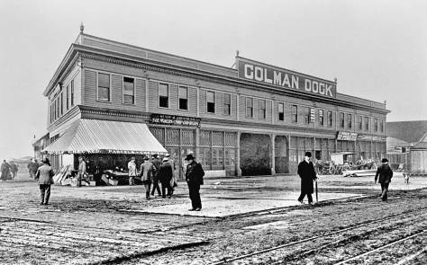 Ca. 1900 front facade of Colman Dock before the waterside pier was extended in 1908/9.