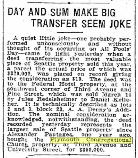 A Seattle Times clip from April 2, 1912.