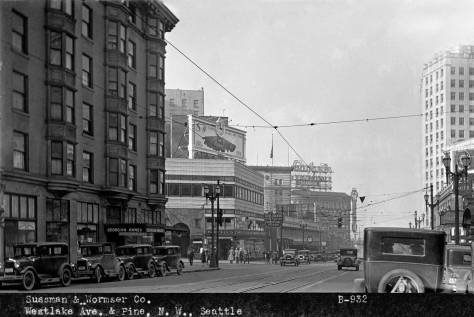 An undated look north on Westlake thru Pine Street with the southwest corner of the Silverstone Building showing on the far right.