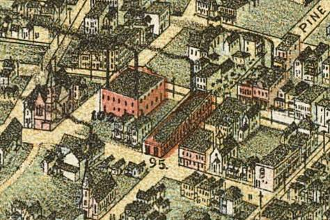 "The intersection of Fourth Avenue and Pine Street may be identified in this detail from the 1891 Birdseye by the number ""95"" that is written on it."