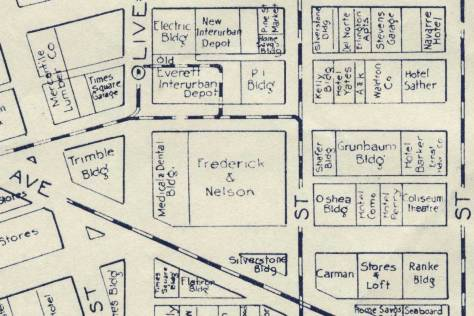 "The Triangle block appears at the center-bottom of this detail from the 1923 map by Kroll of Seattle's ""business section."""
