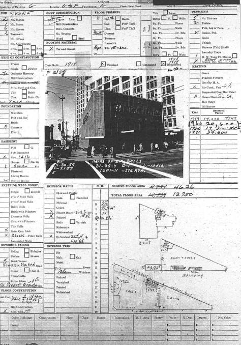The 1959 tax card for the then latest removed of the Triangle aka Silverstone Building.