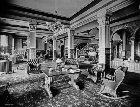 The lobby most likely briefly before the hotel opened to Theo Roosevelt, its first guest, in the spring of 1903.