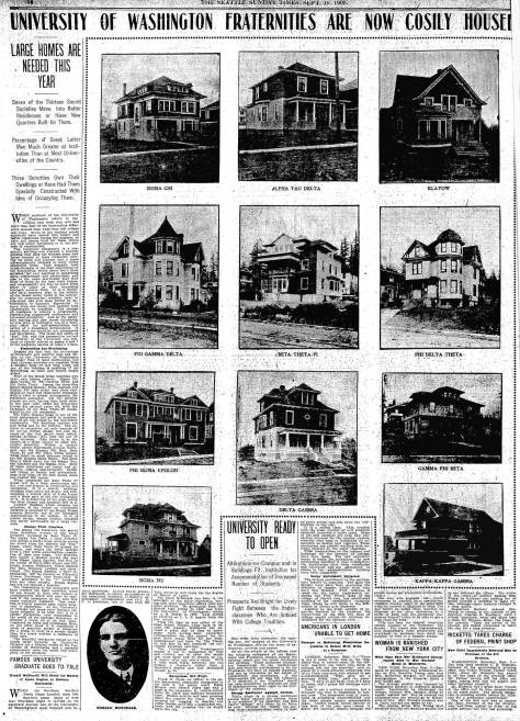 A page from The Times for Sept. 10, 1905. Note the new home for Delta Gamma, bottom-center.