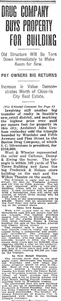 The Times Sept. 2, 1917 report on Jay C. Silverstone's record-breaking purchase of the featured little triangle.