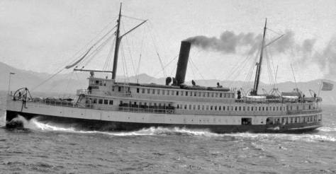 """The steamer City of Seattle on one of its many runs to Alaska. This is, the caption reads, """"just below Dixon's Entrance. (Courtesy, Cornell University Library)"""