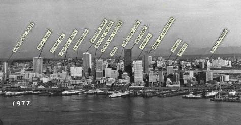 Seattle skyline photographed and captioned by the Seattle Times photographer Roy Scully in 1977.