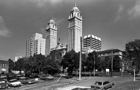 Looking northeast from a mid-line location on the Skyline Block and the west end of the parking lot that replaced the Graham mansion in the mid-1960s.