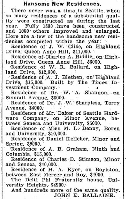 A Times listing of some of the grander new residences built in Seattle in 1900. The list includes the Graham home. It is fourth up from the bottom.