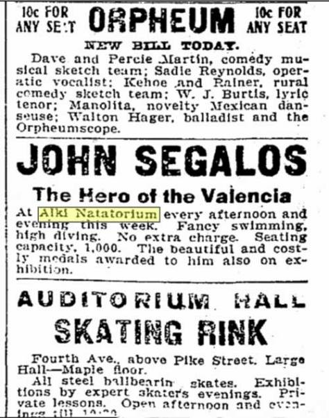 The Alki Natatorium paid the sudden and heroic celebrity John Segalos, the life-saving hero of destroyed Mosquito Fleet steamer, the Valencia.