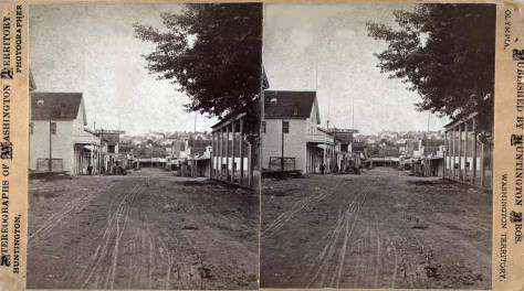 Potland photographer Huntington's look north on Commercial Street from Jackson ca. 1880. Huntington's caption is printed directly below.