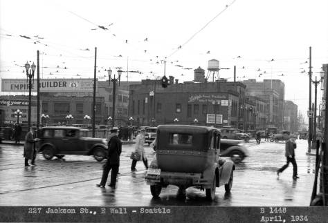 Another Billboard negative, this one sighting west on Jackson from or thru the Second Avenue extension in 1934.