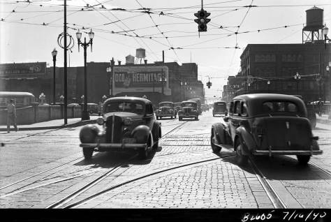 Six years later looking west on Jackson Street thru 4th Avenue on July 16, 1940.