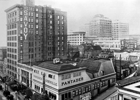 Both the earlier Pantages at the northeast corner of Seneca and Second Avenue and construction work on the new one at the northeast corner of University and Third Avenue are on show here - along with the Hotel Savoy on the east side of Second Avenue mid-block between Seneca and University streets. Note that the Reeves home at the northwest corner of Third and Seneca has been razed and replaced with a two story brick business block. Like the featured photo this is another from MOHAI and its Webster and Stevens Studio collection.