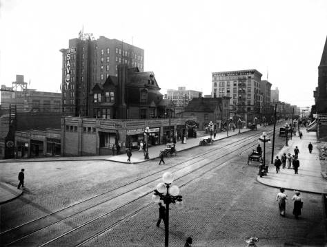 THEN: Seattle's new – in 1910-11 – cluster-ball street lighting standards stand tall in this ca. 191l look north on Third Avenue from Seneca Street. (Courtesy, Museum of History and Industry.)