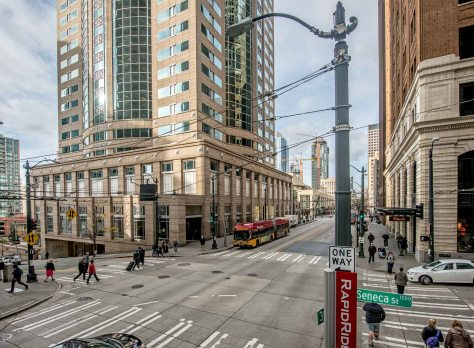 """NOW: After the Savoy Hotel was imploded in 1986, the popular 1201 Third Avenue Building (1988), formerly the Washington Mutual Tower. reached its locally """"second highest"""" status at fifty-five stories and 772 feet."""