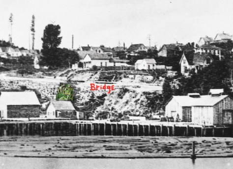 "The bridge over the Seneca Street ravine is marked in this detail from the Peterson & Bros. 1878 panorama of the nearly new Front Street Regrade (1876). The green coloring clumsily ""enhances"" the green growth that is attached to the log-constructed retaining wall on the west side of Front Street. The vegetation was encourage or fed by the drainage on Seneca."