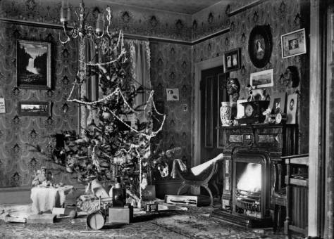 The family tree and a few opened presents. Note the painting of Snoqualmie Falls on the wall behind the tree.