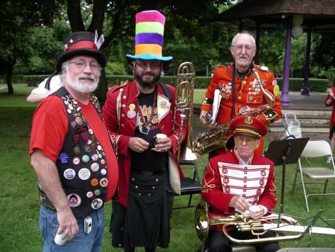 "The Ballard Marching Band following a performance in Wallingford's* Meridian Park. ("" Wallingford, ""The Gateway to Ballard."""
