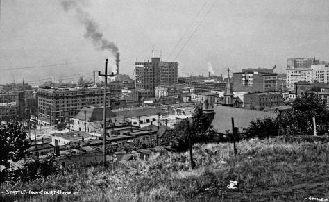 QUIZ: Part of the Second Avenue facade can be found in this ca. 1910 look from the front lawn of the King Country Courthouse on First Hill's Seventh Avenue. Hint: The skyscraper is Seattle's first - the Alaska Building (1904) at the southeast corner of James and Second Avenue. The steeple on the right tops Our Mother of Good Help Catholic Church at the southeast corner of Jefferson and Fifth Avenue.