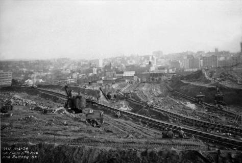 The same scrape-scape as that in the featured photo only here seen early (Nov. 6, 1929) looking south from a prospect near Fifth Avenue and Battery Street.