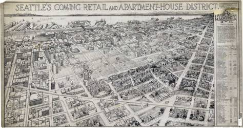 """The """"Old Quarter"""" is easily distinguished in this ca. 1917 rendering of the then """"apartment house district."""" CLICK to ENLARGE"""