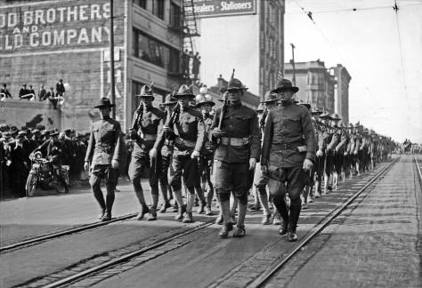 Draft Parade on Second Avenue north from Stewart Street, 1917.