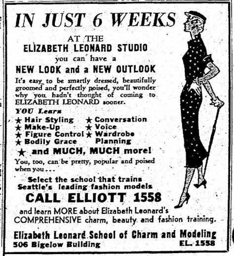 Elizabeth Leonard's beauty and charm school was a long-time tenant of the Bigelow Building. This adver. was clipped form The Times for May 14, 1957.