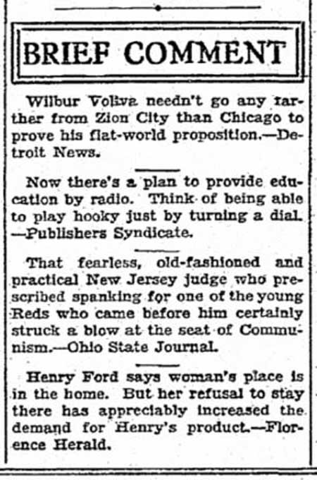 A comedic interruption of The Times serious news flow for March 15, 1930, about the time of this week's regrade pans.
