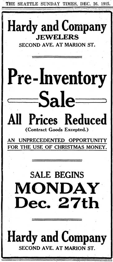 A Hardy adver from The Times for December 26, 1915.