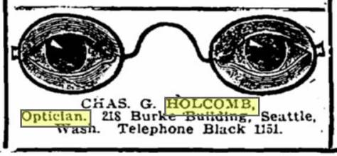 """A Times ad for Chas. Holcomb and his iconic opticals. (And that may be one of the better if many uses of """"iconic"""" you will trip over this week.)"""