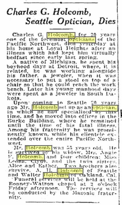 Optician Holcomb's Obituary from The Seattle Times for October 5, 1921. He was a mere 55 years old.