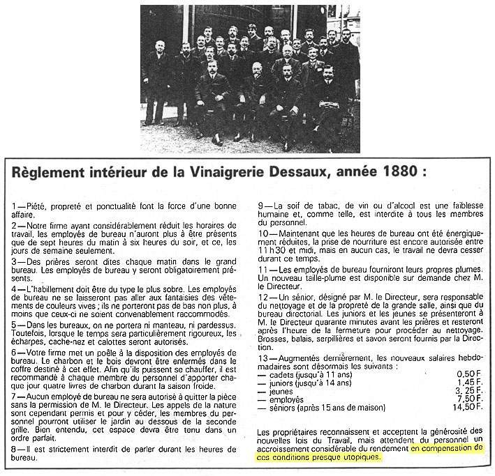 Règlement intérieur de la vinaigrerie Dessaux (3/3)