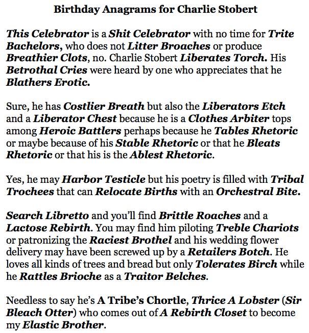 Birthday Anagrams for Charlie Stobert