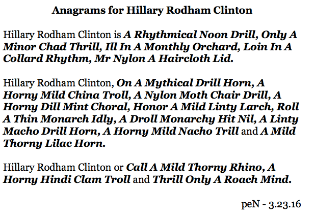 Anagrams for Hillary Rodham Clinton%0A