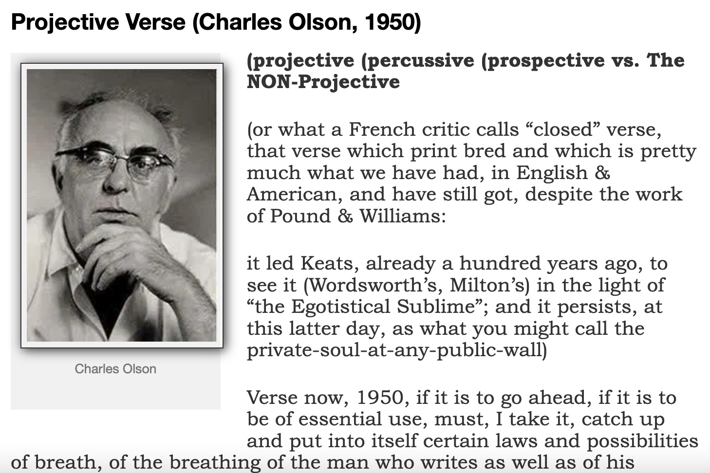 A Reading of Projective Verse