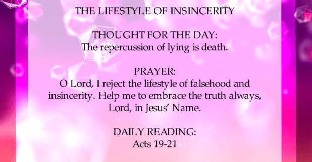 Seeds Of Destiny 11 November 2020 THE LIFESTYLE OF INSINCERITY