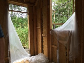 Tiny Cabin plastic sheeting blown out