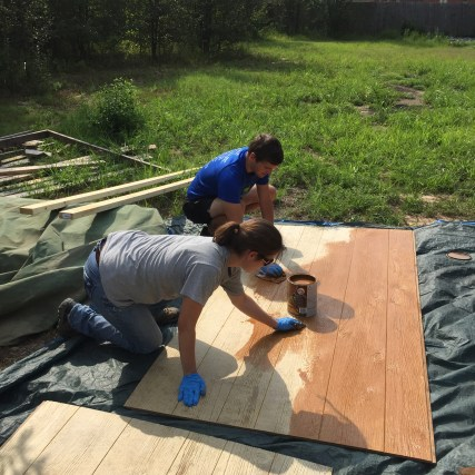 Staining the siding