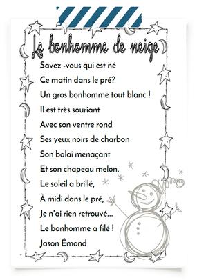 Le Bonhomme De Neige Poesie : bonhomme, neige, poesie, Bonhomme, Neige, PauletteTrottinette