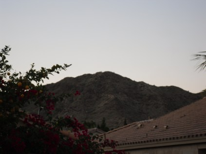 View of South Mountain from the back patio of our home. Bursera Trail lies just over the visible peak.