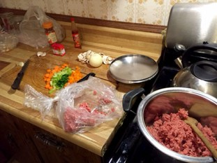 Getting everything ready - jambalaya
