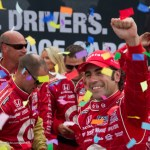Dario Franchitti celebrates his third victory on the Streets of Toronto