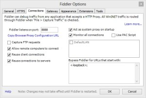 Fiddler Connections Proxy